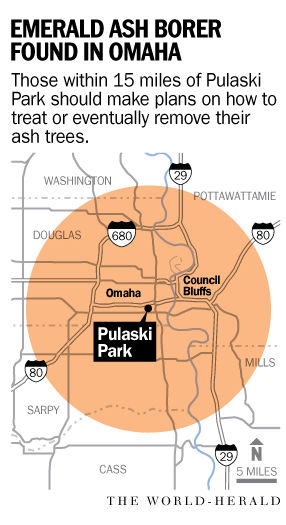 Emerald ash borer Omaha map