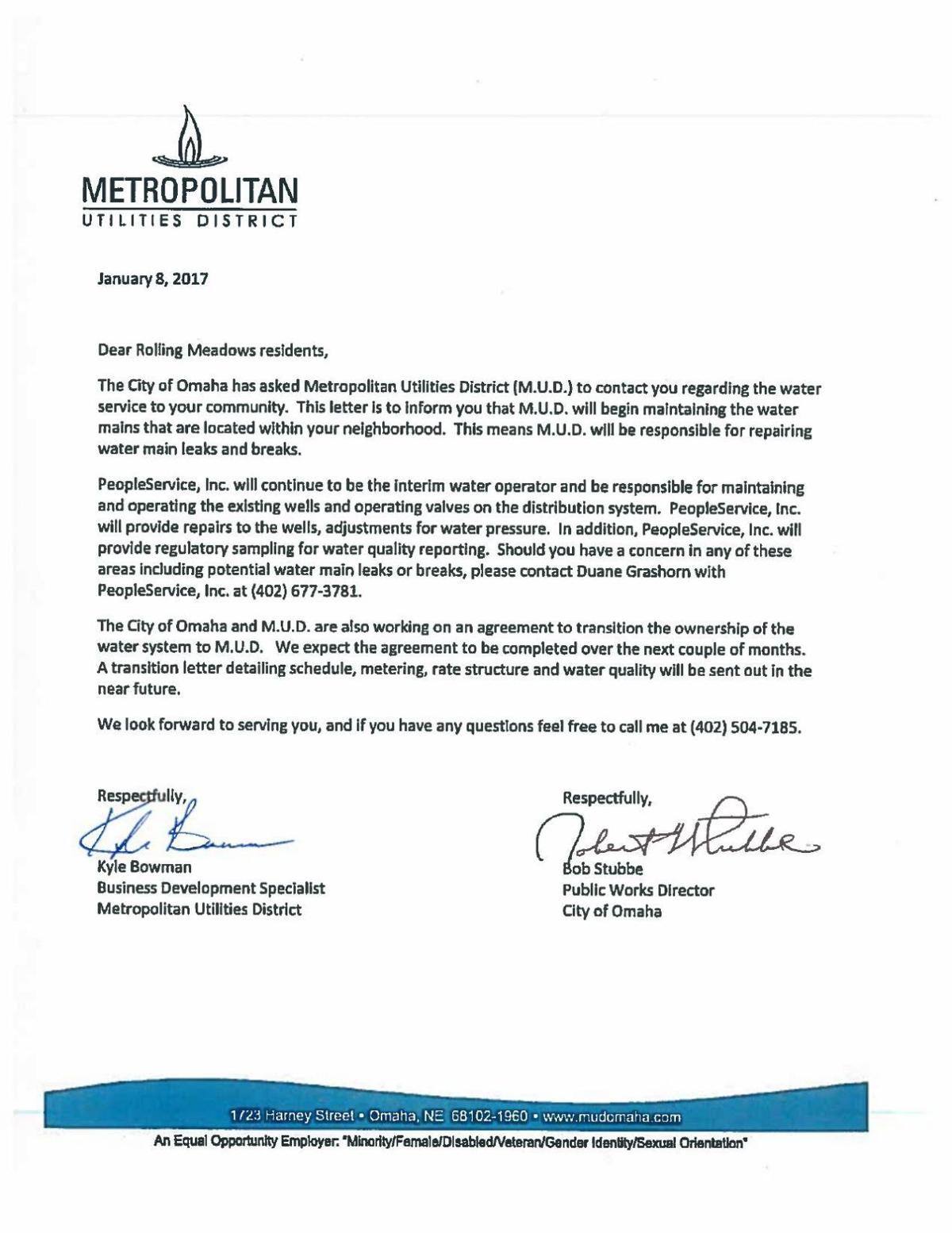 Mud Letter To Rolling Meadows Residents   OmahaCom
