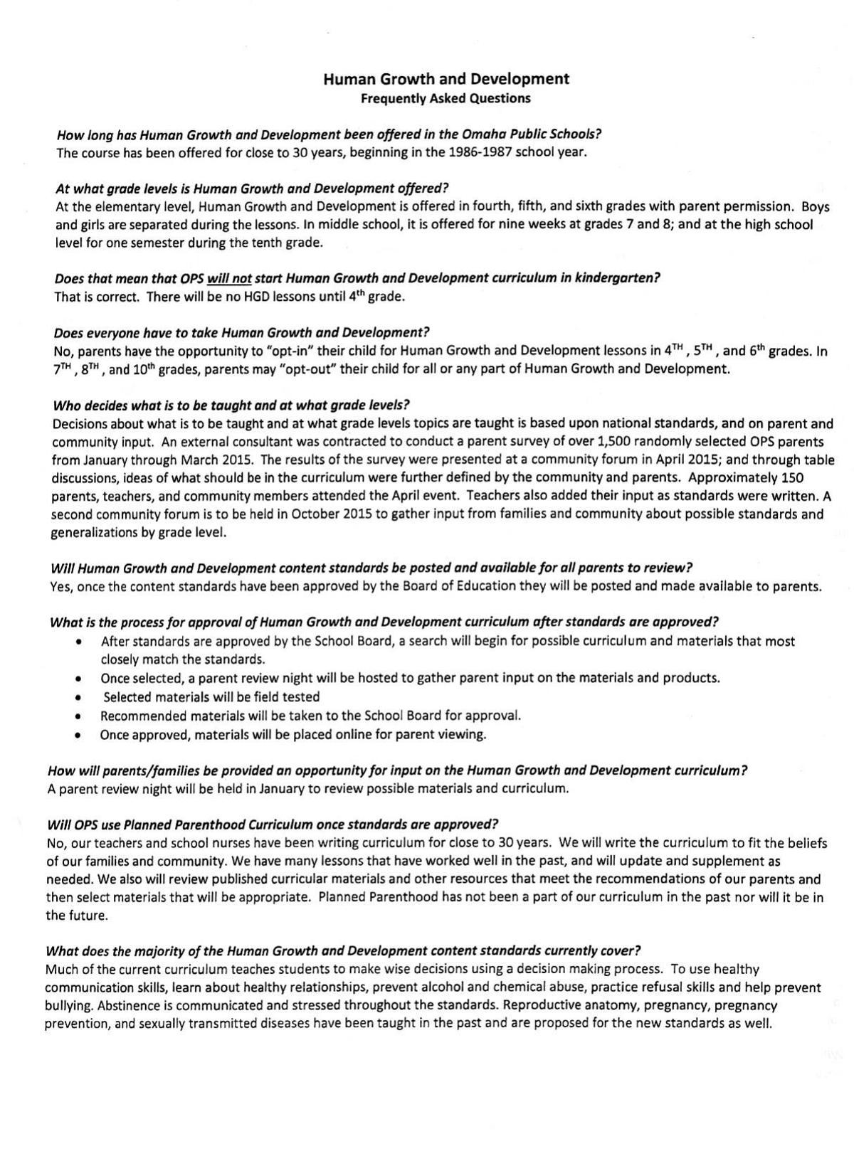 Faq On On Health And Sex Education Pdf Live Well Nebraska