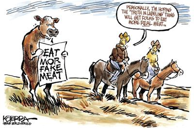 Jeff Koterba's latest cartoon: Mooove over, non-meat