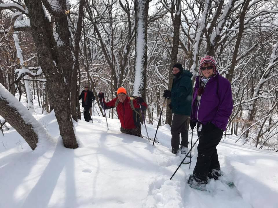 Sunday's deep powder proved enticing for hike in the woods, via snowshoes