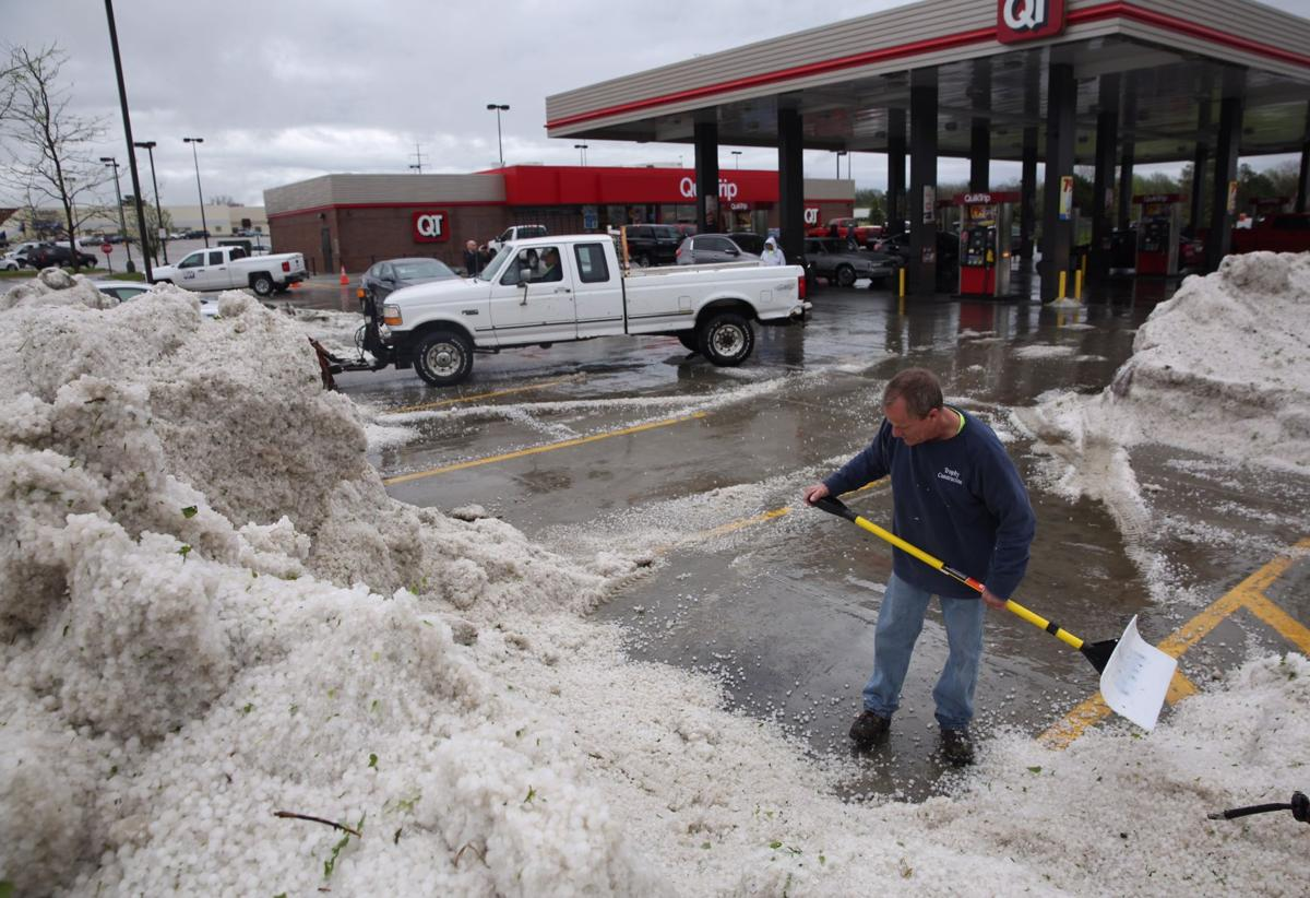 Piles of hail at 103rd and Fort