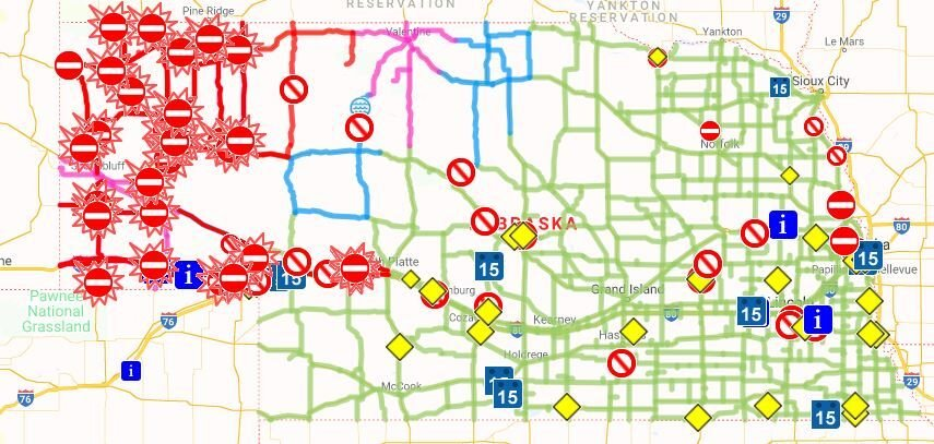 Nebraska road closings as of 4 p.m. Sunday