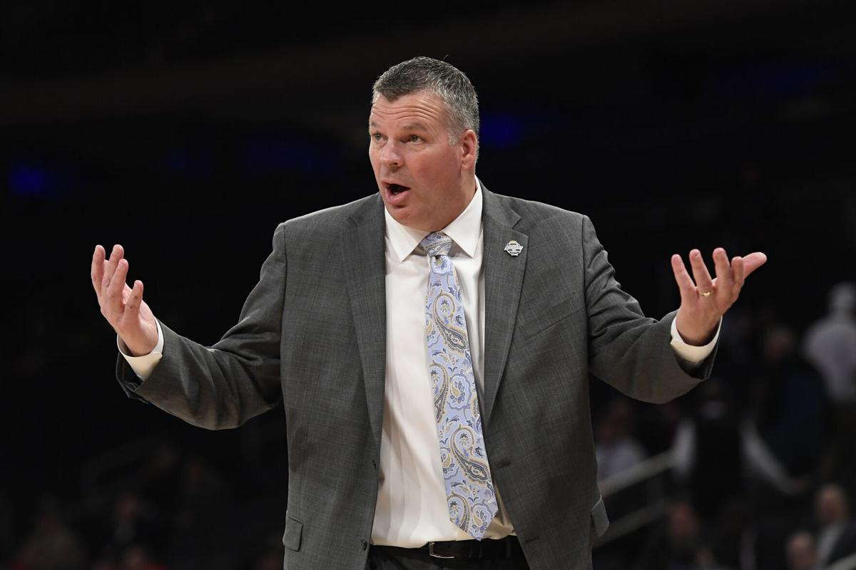 Head coach Greg McDermott of the Creighton Bluejays reacts in the first half against the St. John's Red Storm during the quarterfinals of the Big East Basketball Tournament at Madison Square Garden on March 12, 2020 in New York City.