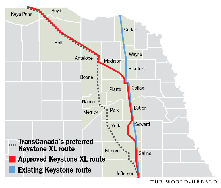 Keystone XL route across Nebraska