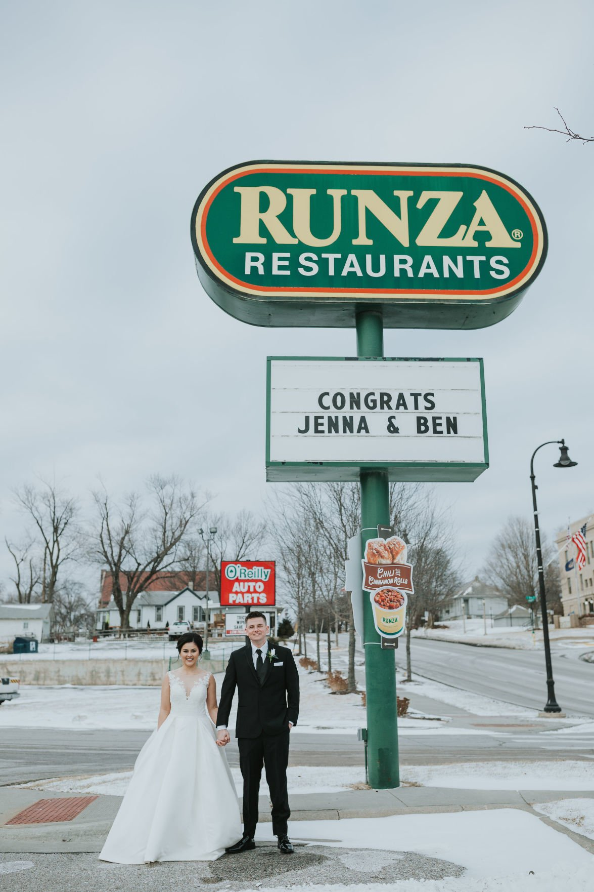 Newlyweds visited Papillion Runza after wedding ceremony