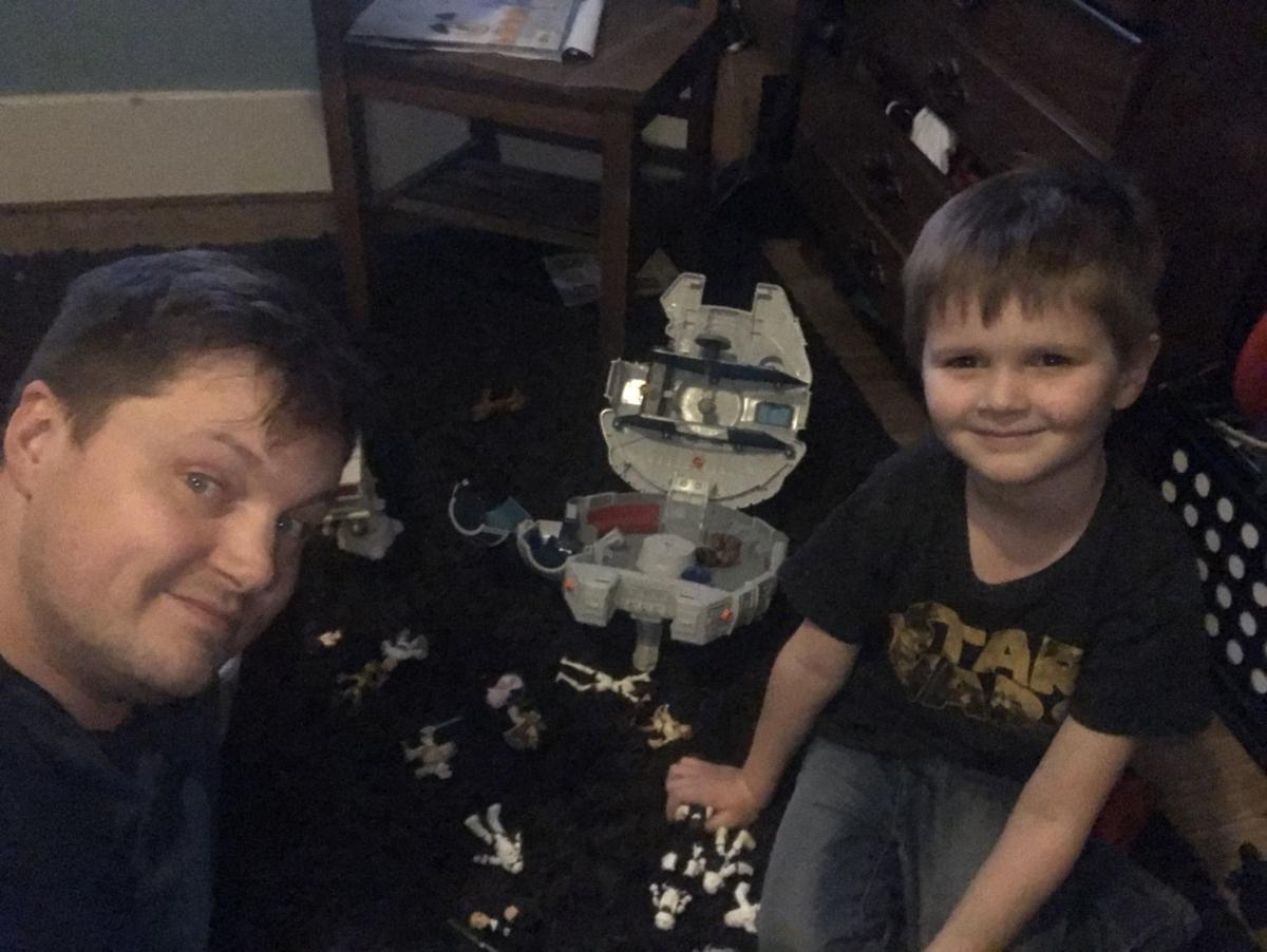 Kevin and Sam Coffey playing Star Wars