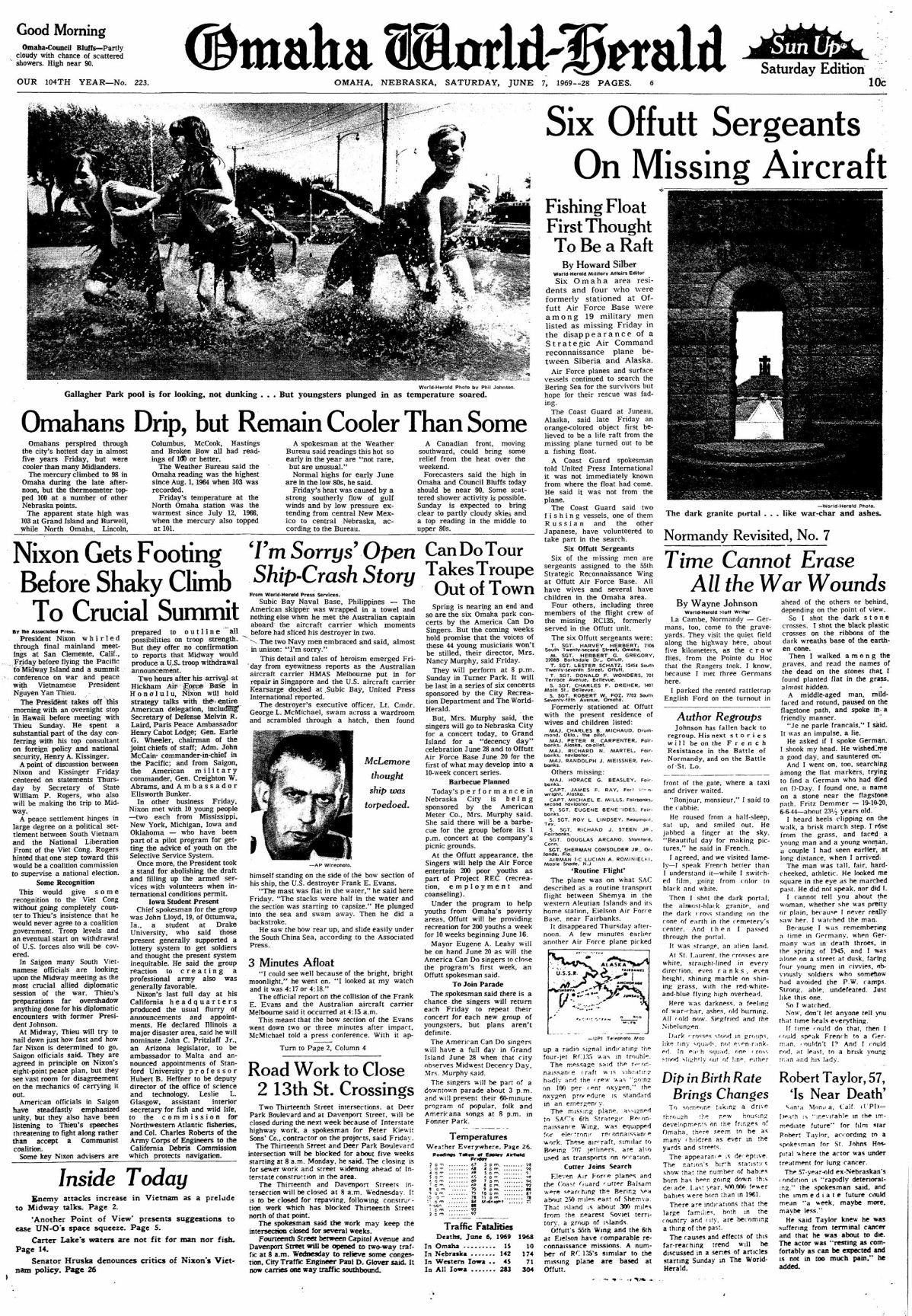 World Herald front page June 7, 1969