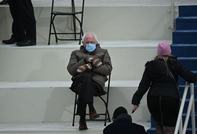 Former presidential candidate, Senator Bernie Sanders, I-Vt., sits in the bleachers on Capitol Hill before Joe Biden is sworn in as the 46th U.S. President on Jan. 20, 2021, at the U.S. Capitol in Washington, DC.