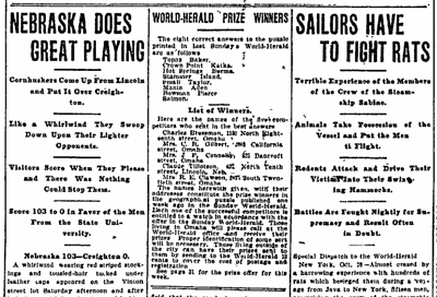 In 1905, Nebraska had a blowout win over Creighton. And there was a rat-infested boat.