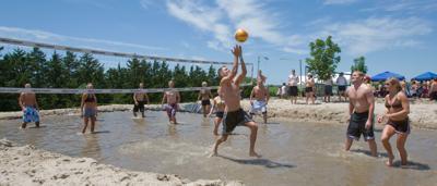 Pink Bandana mud volleyball