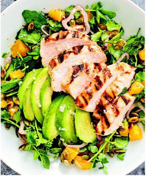 Grilled avocados help lenda smoky depth to chicken salad