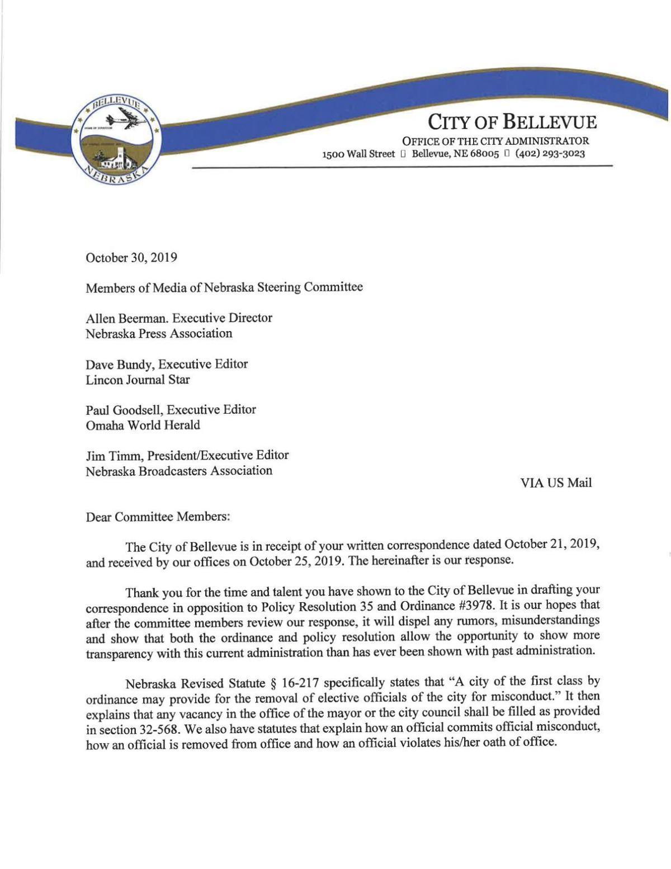 Bellevue response to Media of Nebraska letter