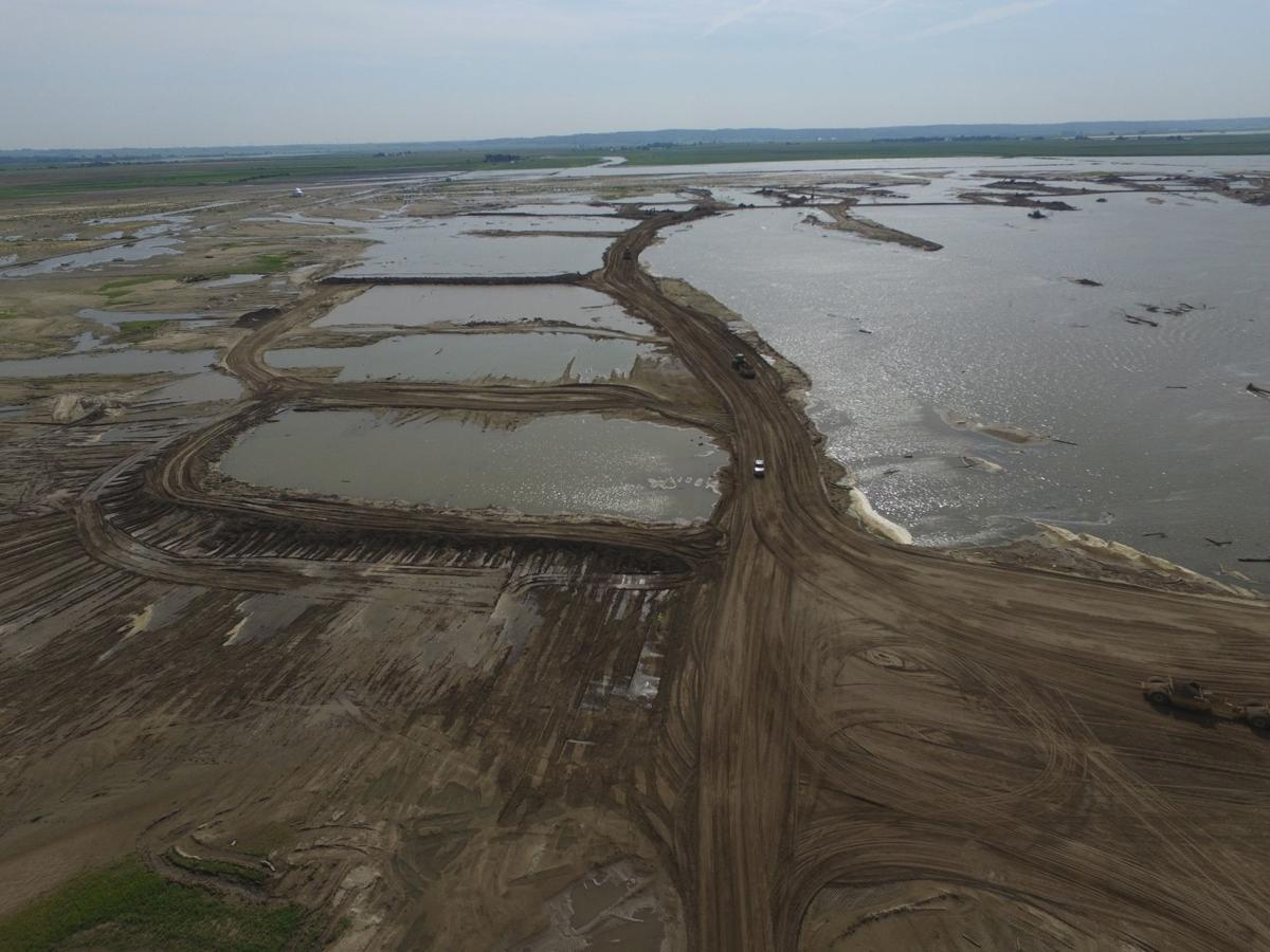 Missouri River valley shows effects of earth-work needed to repair levees