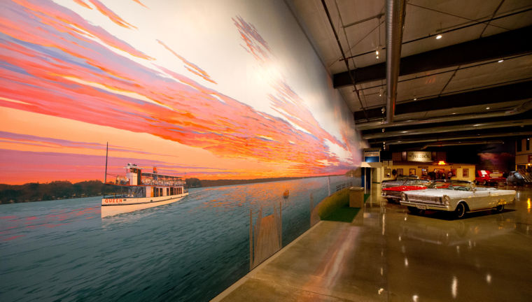 Artist's life-size mural of Okoboji takes museum visitors back in time