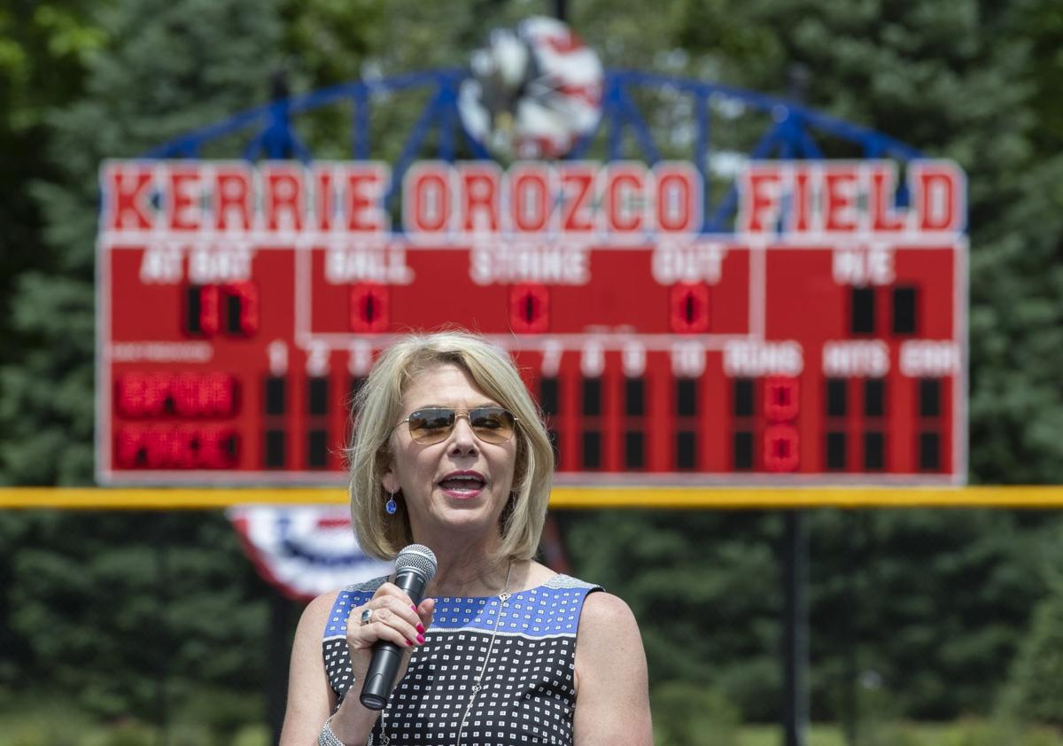 Jean Stothert speaks at field dedication