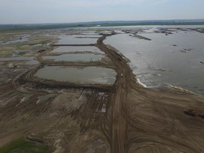 Missouri River valley shows effects of earth-work needed to repair levees (copy)