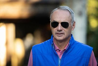 Rob Manfred, commissioner of Major League Baseball, attends the annual Allen & Company Sun Valley Conference, July 12, 2019, in Sun Valley, Idaho.