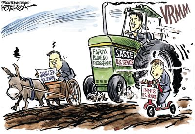 Jeff Koterba's latest cartoon: Plowing past the competition