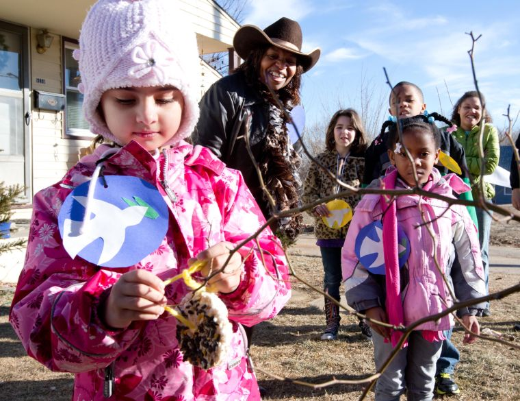 Kids make bird feeders as service project to honor Martin Luther King Jr.