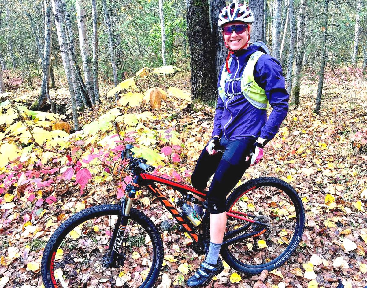 Two-time Olympian Sadie Bjornson of Winthrop enjoys a fall ride in Alaska.