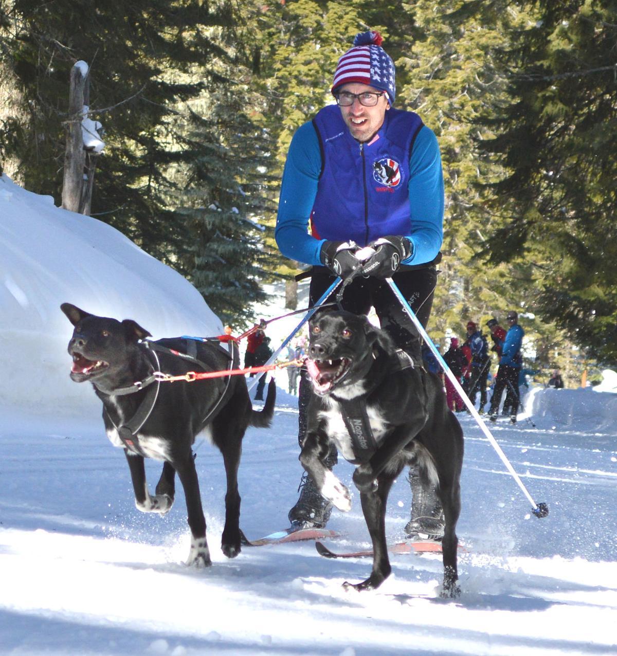 Dan Hanks does skijoring