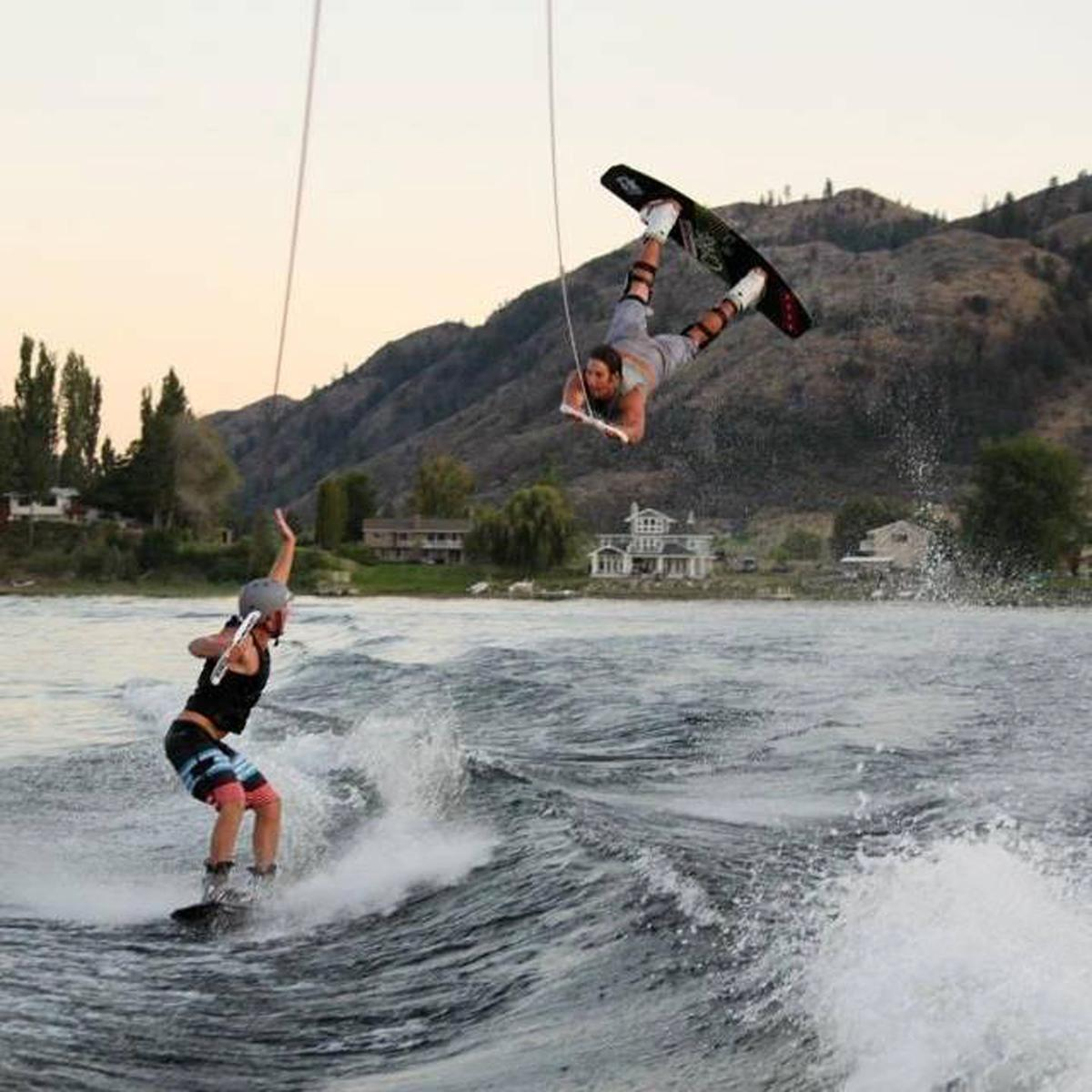 Wake boarding on Lake Osoyoos