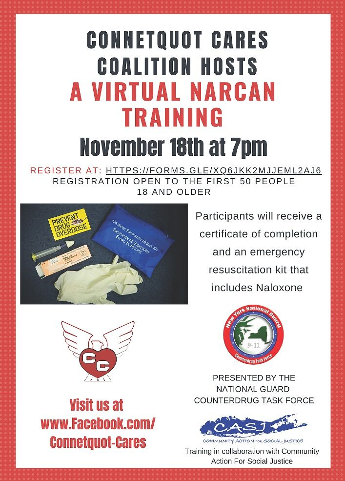 Connetquot Cares Coalition presents free Narcan training