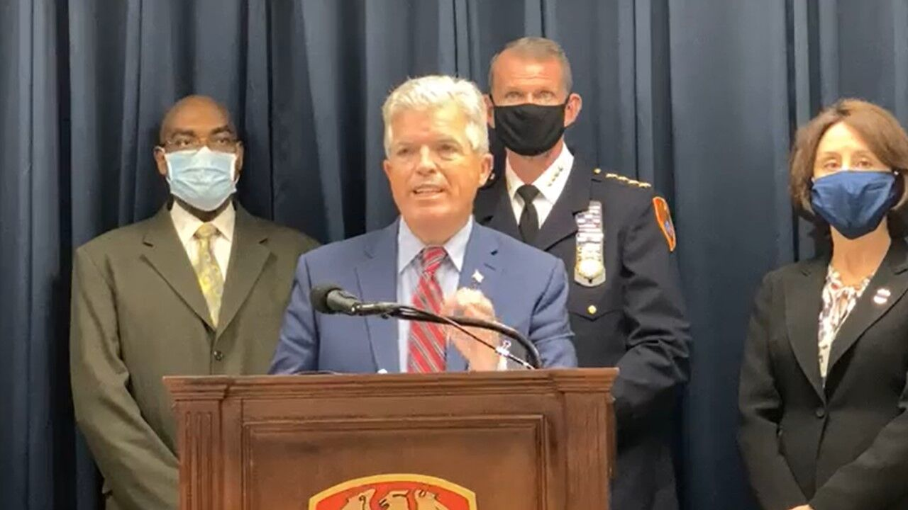 Suffolk County Executive Steve Bellone press conference on Oct. 28, 2020