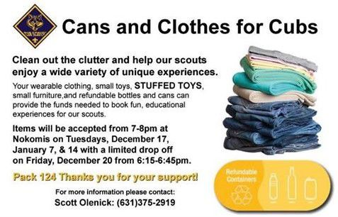 Can and Clothes for Cubs, Dec. 17, Dec. 20, Jan. 7 and Jan. 14
