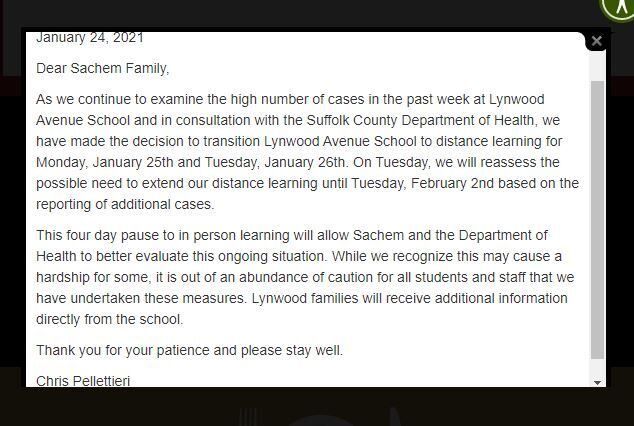 Sachem Schools announcement about Lynwood