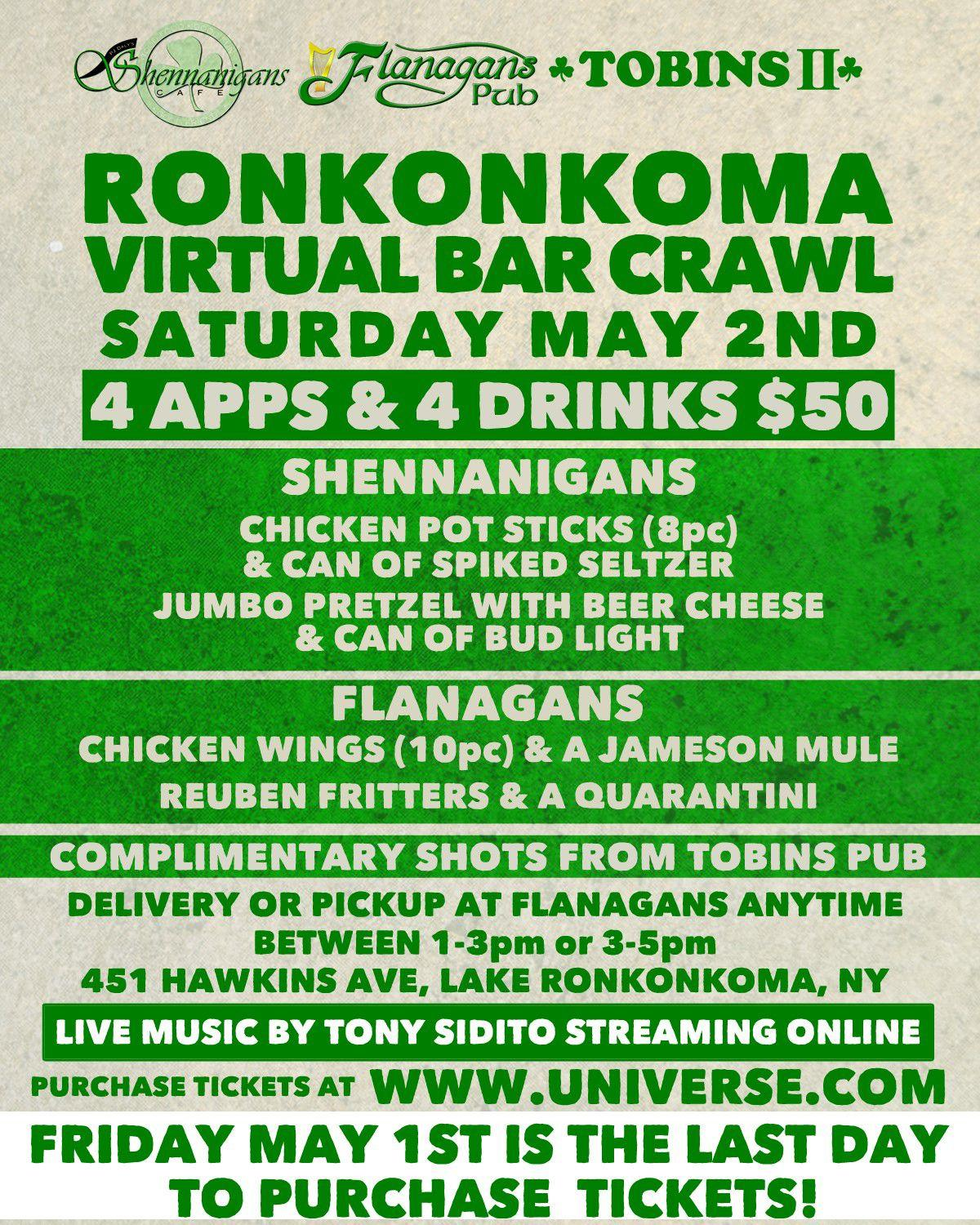 Ronkonkoma Virtual Bar Crawl - Buy NOW for May 2 Event - Flyer