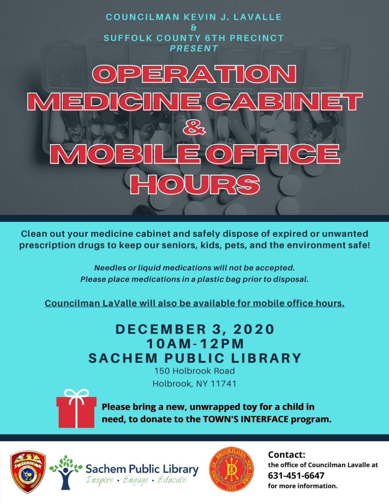 Operation Medicine Cabinet & Mobile Office Hours at the Sachem Public Library