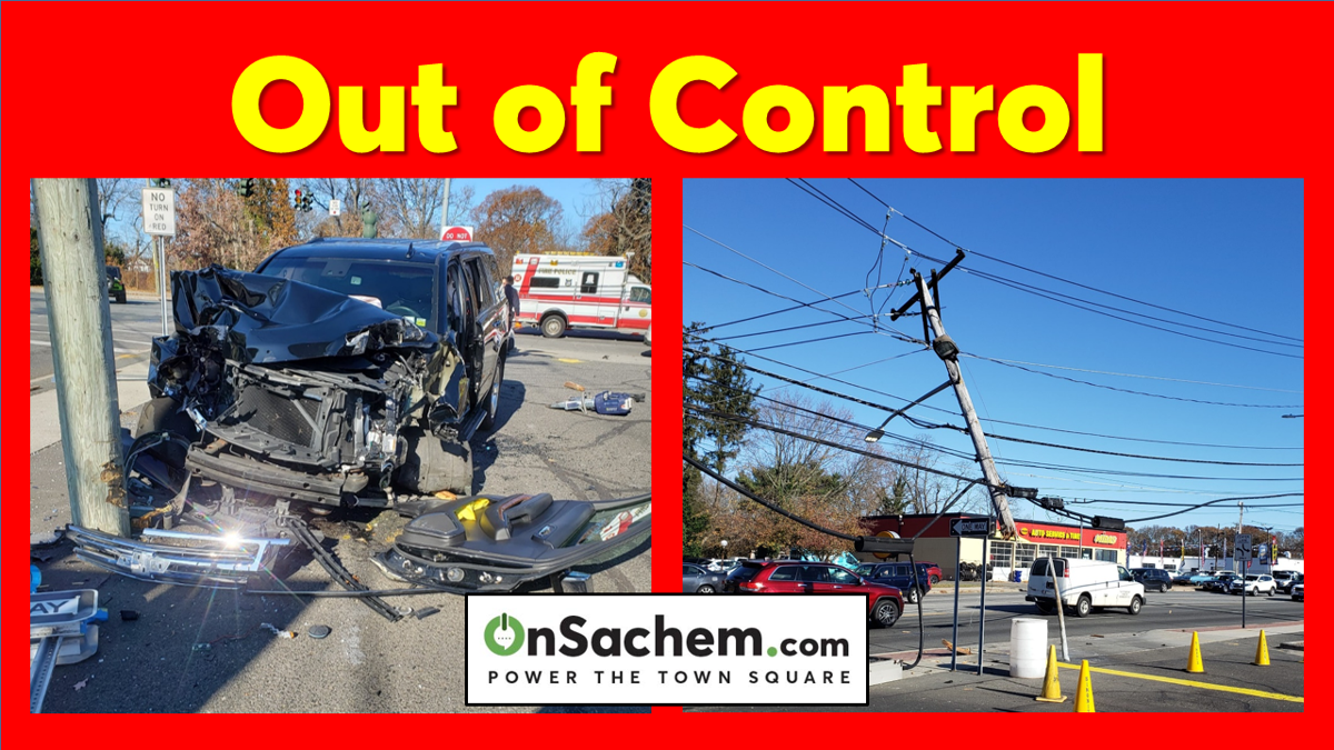 Middle Country Road Crash Takes Out Utility Pole and Signs, Police Believe the Driver Had a Medical Emergency