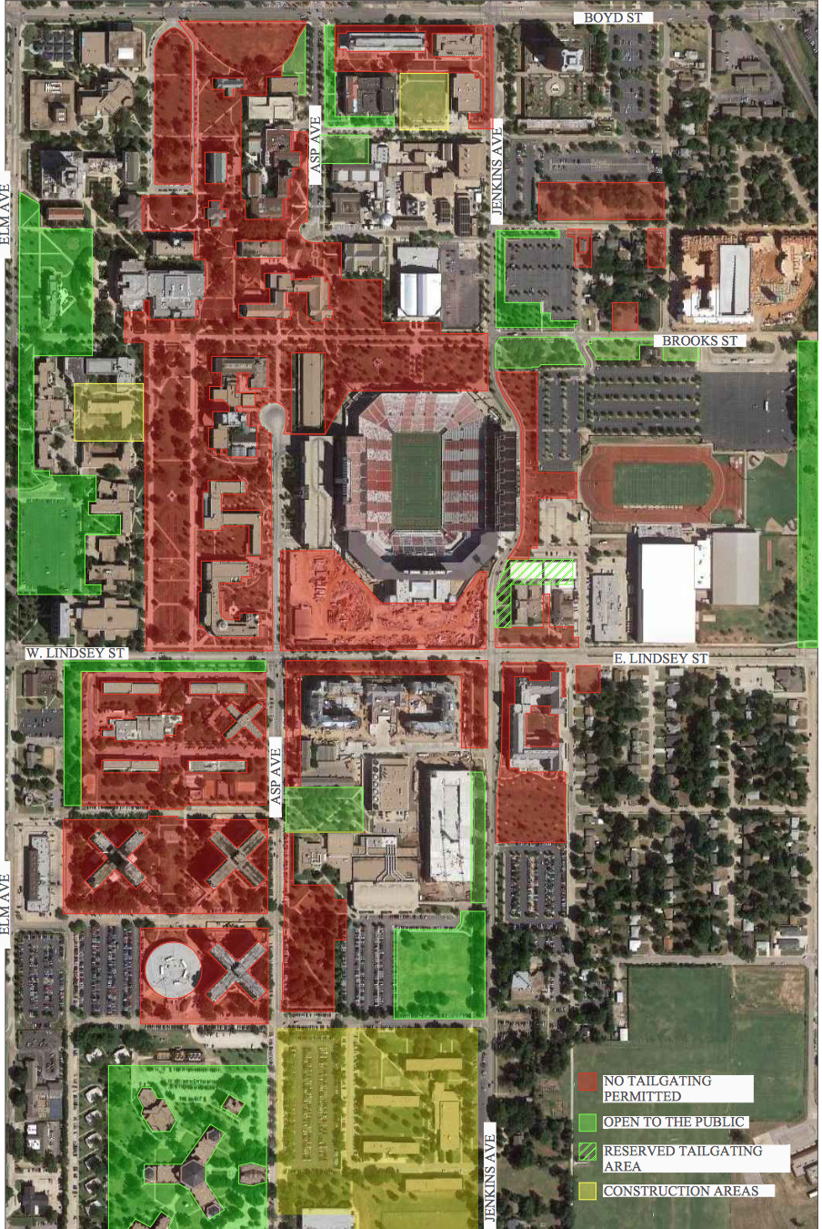 oklahoma football university updates map allows tailgating on a different part of lindsey. Black Bedroom Furniture Sets. Home Design Ideas