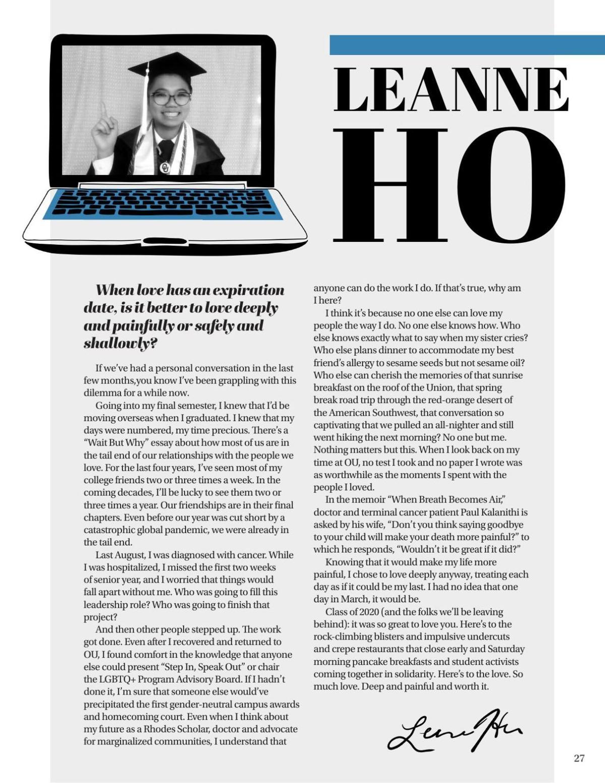 Leanne Ho Senior Letter