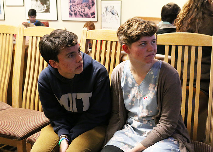 Junior Linguistics Major Hayley Hinsberger And Junior Computer Science  Major Sarah Otts Watch The Outcome Of The Oklahoma State Governor Race  During The ...