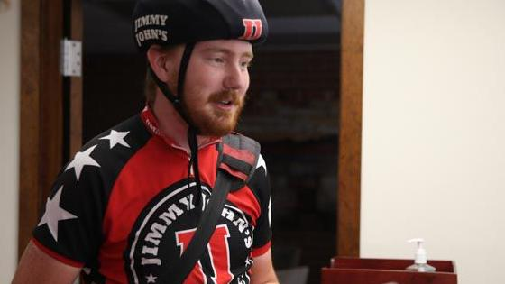 'Freaky fast' formula: Jimmy John's cyclist, OU graduate braves hottest summer days