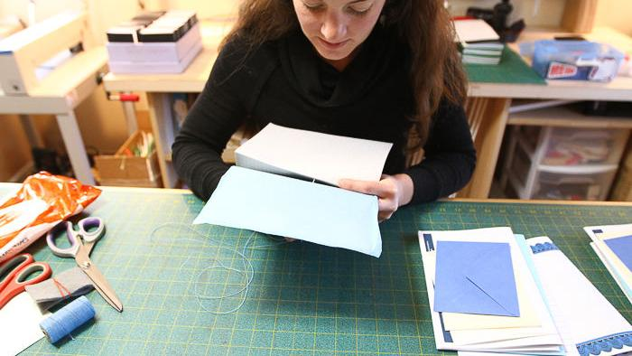 OU alumna creates bookbinding business using recycled, reused materials for custom journals