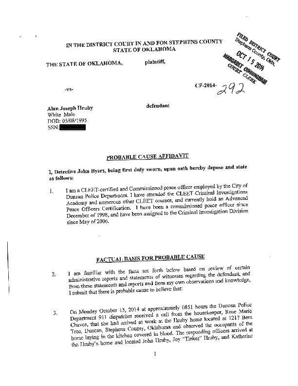 Alan Hruby Probable Cause Affidavit | | oudaily.com