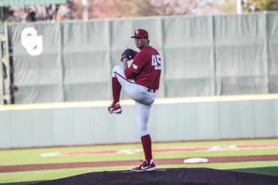 65afac79e86b Freshman pitcher Ben Abram pitches the ball during the game against Oral  Roberts on April 2.