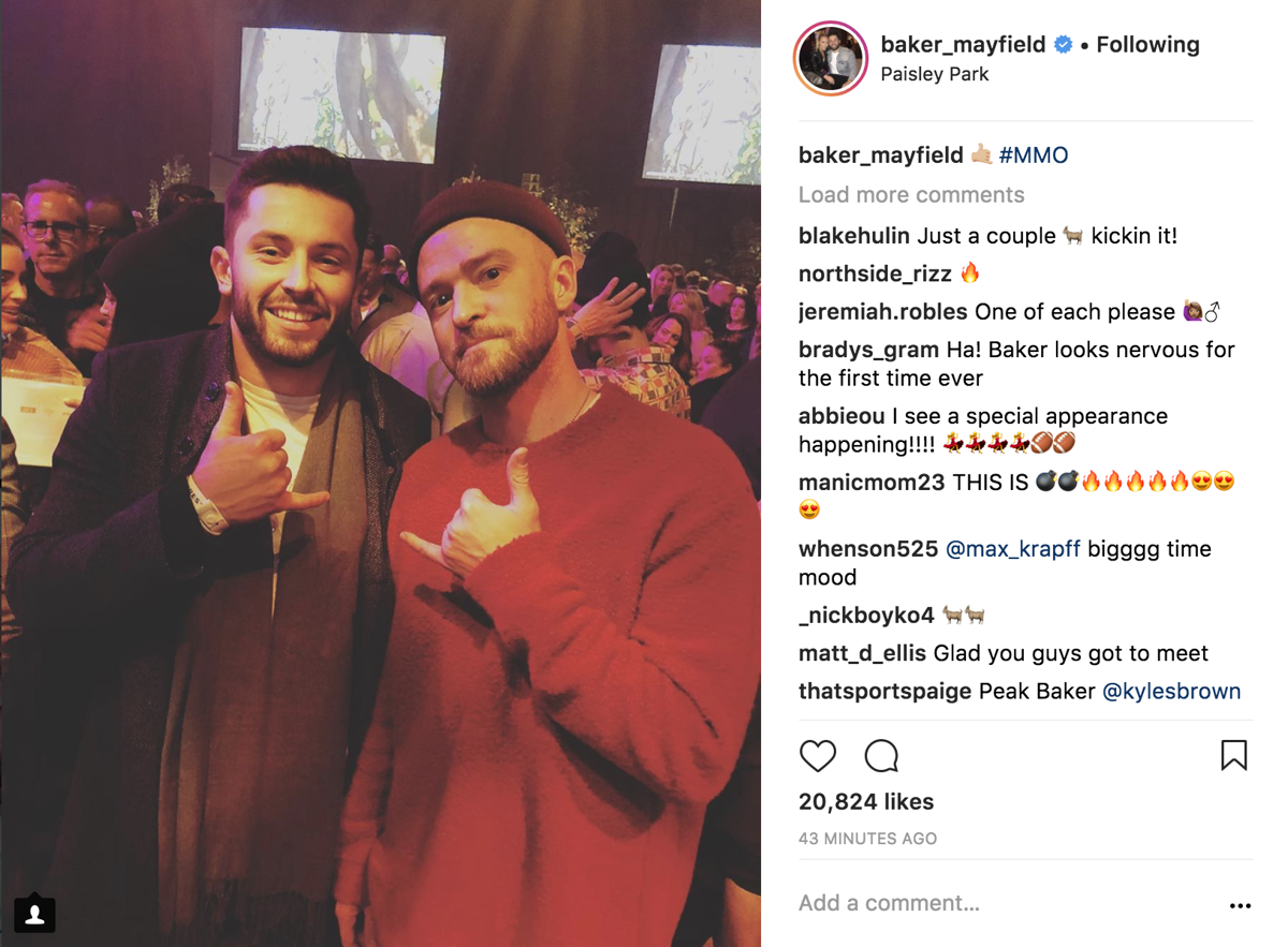 Oklahoma football baker mayfield meets justin timberlake sports mayfield meets justin timberlake m4hsunfo