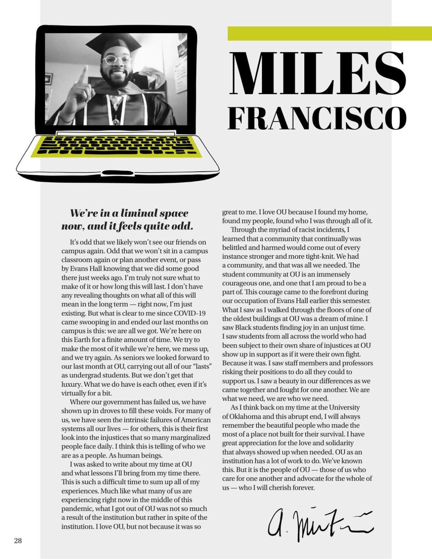 Miles Francisco Senior Letter