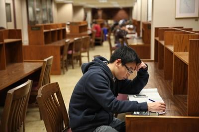 Studying in Bizzell Memorial Library