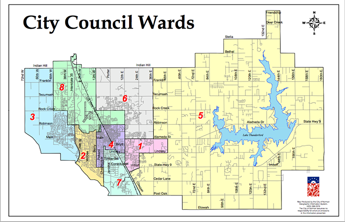 Norman City Council Wards map oudailycom