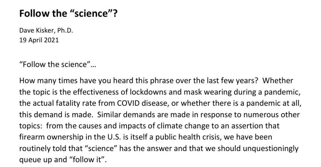 """Follow the """"Science"""""""