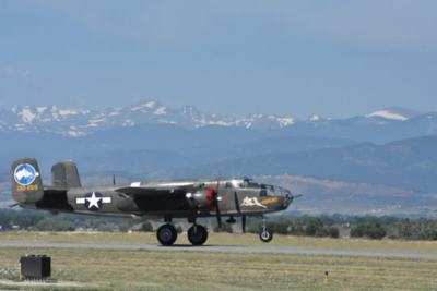 A vintage B-24 bomber gets ready to take off at the Northern Colorado Regional Airport.