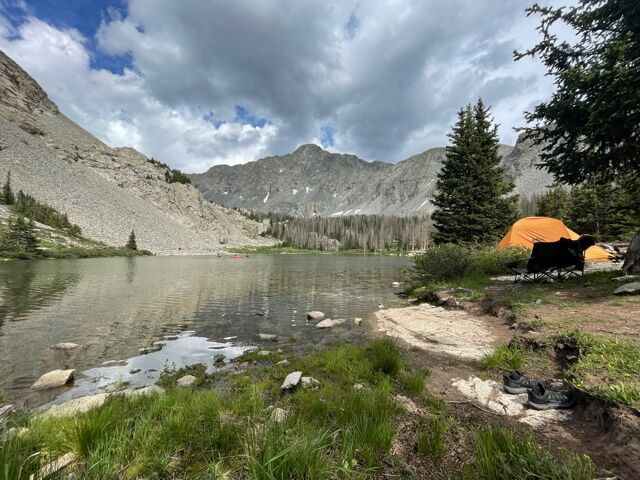 Little Bear Peak above Lake Como. Note: This person put their tent way too close to the water. Per recommendations from Leave No Trace, camp at least 200 feet from lakes and streams. Photo Credit: Spencer McKee.