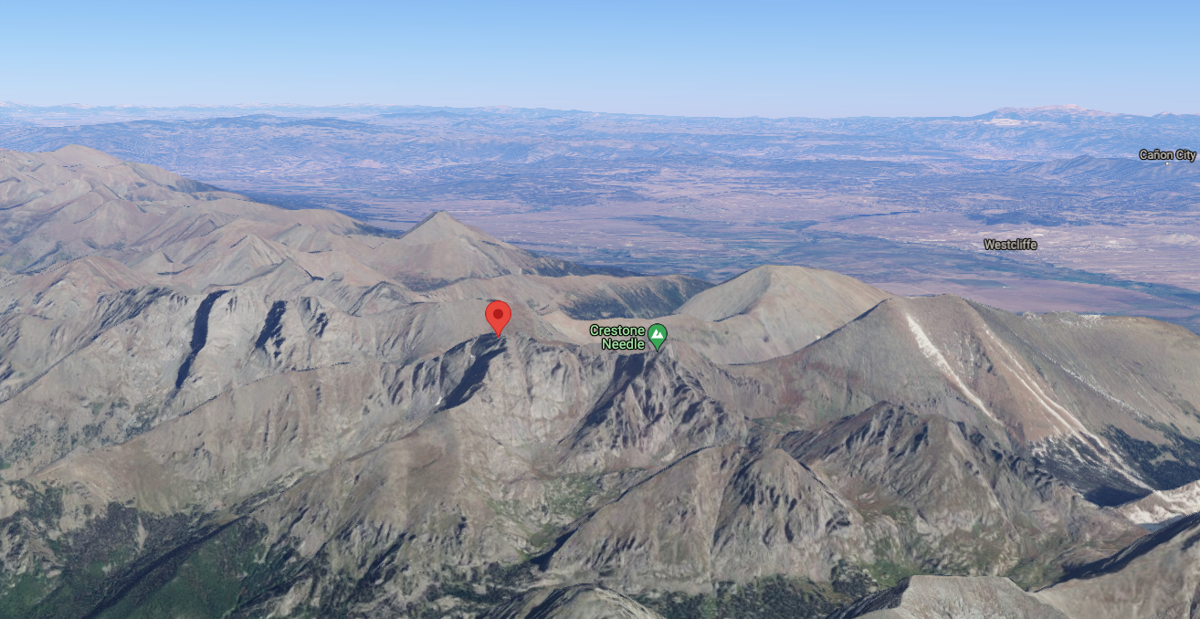 This image shows Crestone Peak at 14,294' (red icon) and Crestone Needle at 14,197'. Image Credit: @2021 Google Maps.
