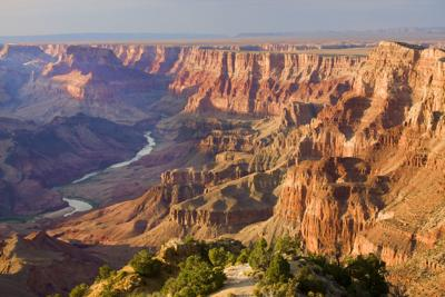 Grand Canyon landscape at dusk viewed from desert